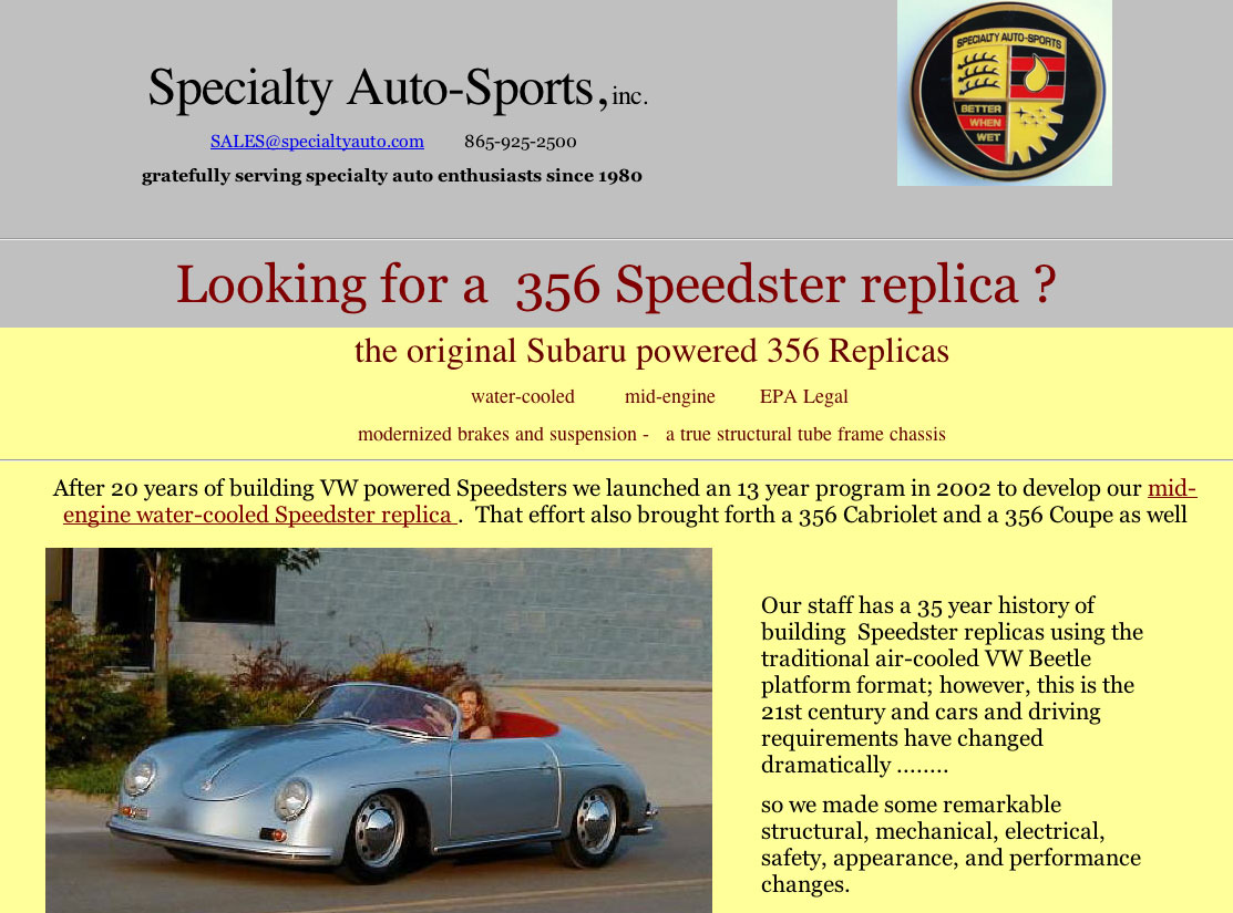 Speedsters com - Directory of 356 Speedster replica suppliers